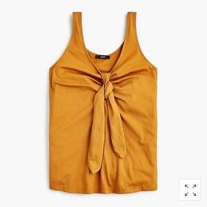 🌿 J Crew Rust Gold Tank Top with Tie Front